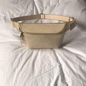 H&M Beige Crocodile-Patterned Belt Bag